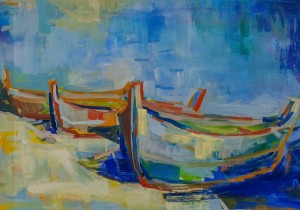 S. Zavadiak 'The Lake Sviatiaz. Boats', 2016, oil on canvas, 50x70