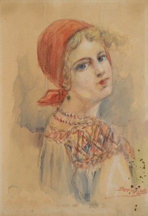 Girl From Verkhovyna In A Red Scarf, watercolour on paper, 43x30