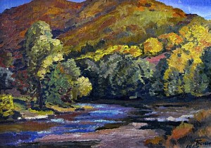 Autumn In The Mountains, 1967, oil on cardboard, 48x70