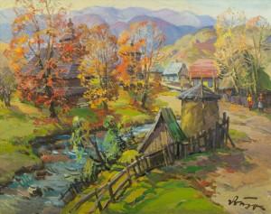 Autumn In Mountain Village, 1970s, oil on canvas, 78x99