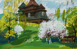 Wooden Church In Uzhok Village, 2014, gouache, acrylic on paper, 50х75