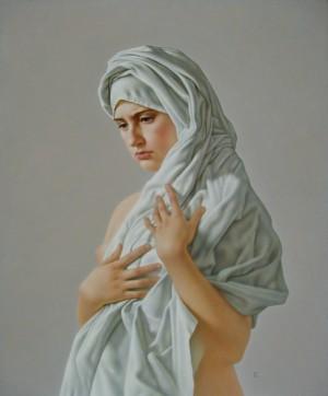A Girl In White, oil, masonite, gesso ground, 75x61