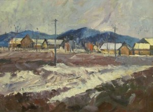 Village In Winter, 1962, 80x60