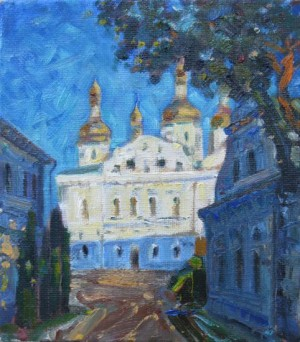 Kyivo-Pecherska Lavra. Assumption Cathedral, 2013, oil on canvas, 25х22