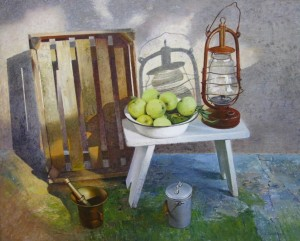 Still life with old lamp oil on masonite, 68 х 84