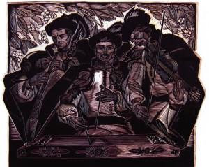 Троїсті музики, лінорит, 1967, 60х80