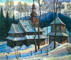 Дерев'яна архітектура, 1985, пап.паст., 50х65