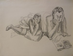 'A Woman Reading A Book', pencil on paper, 49x63