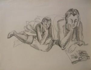 'Жінка, що читає книгу', пап.ол., 49х63