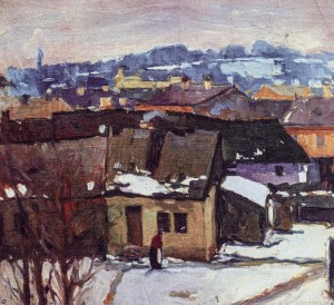Winter In City, 1920s, oil on canvas, 36.5x39