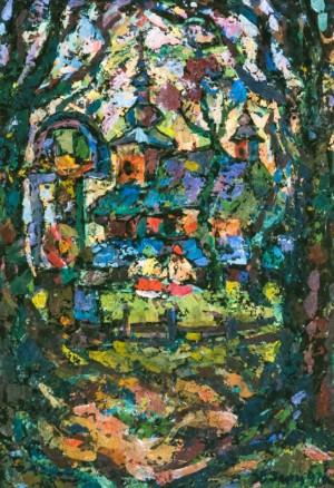 St.Vasyl Church (Sil village), 1997, tempera on canvas, 80х60