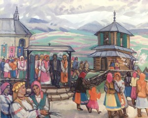 Palm Sunday In Scherbivka Village, 2005, oil on canvas, 103x126