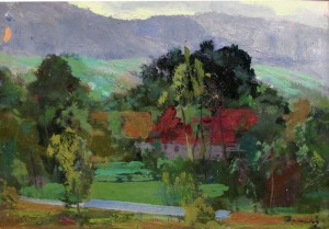 View of the Village, 1955, oil on cardboard, 34x48