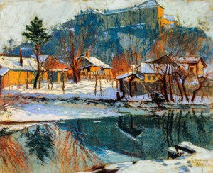 Winter. Uzhhorod Castle, 1923, pastel on cardboard, 63x74