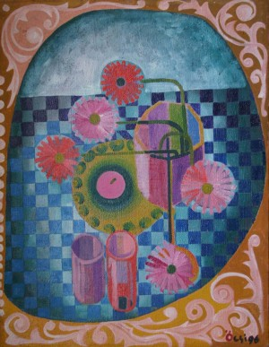 Still Life With Gerberas, from the photo archive of Y. Nebesnyk, 1996, oil on canvas, 88x68