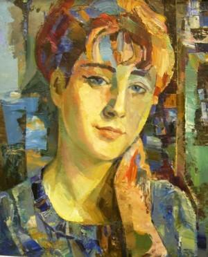 Portrait In Blue. Iren', 1972, oil on plywood, 59х49,5
