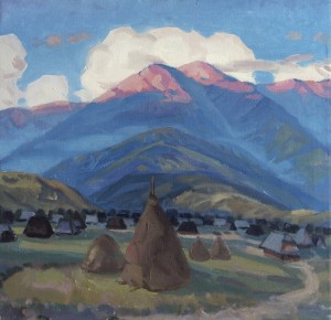 Kolochava Village, 1968, oil on canvas, 50x60
