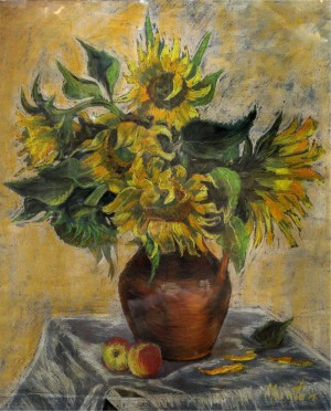 Still Life With Sunflowers, the 1960s, oil on cardboard, 44x29,5