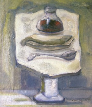 The Objects On The Marble Table, 2005, oil on canvas, 68x58
