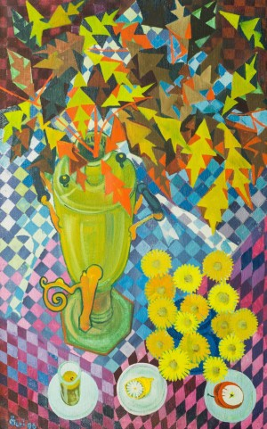 Still Life With A Samovar, Leaves, Flowers, Lemons And An Apple, 1996, 133,5х84