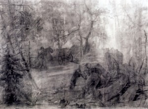 Removal of the Forest, 1940, coal, oil on paper, 92х122