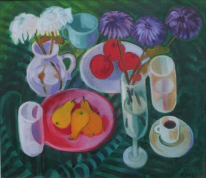 Still Life With Fruits, from the photo archive of Y. Nebesnyk, 1991, oil on canvas, 70x80