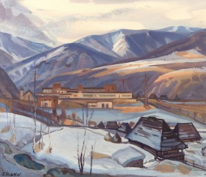 Kostryno Village, 1975, oil on canvas, 90x110