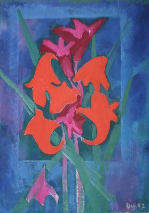 Still Life With Red Lilies, from the photo archive of Y.Nebesnyk, 1997, oil on canvas, 82x62