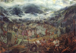 Evening, 1940, plywood, oil, 118,5х169