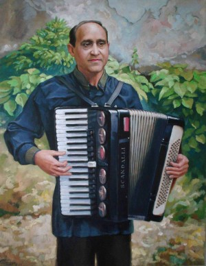 Natsii-An Accordion Player, 2010, oil on canvas, 65x50