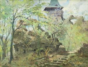 Nevytskyi Castle, the 1960s, oil on canvas, 70x89,5