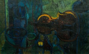 Still Life With The Violin, 1960s, oil on canvas, 47x75