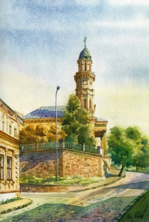 Cathedral of the Exaltation of the Holy Cross 1996 watercolour