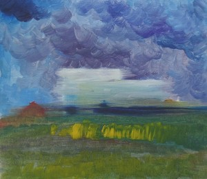 Landscape, 2015, oil on cardboard, 18x20
