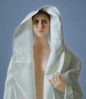 A Girl, oil, masonite, gesso ground, 71x60
