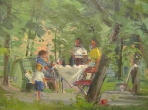 Family In The Garden, 1952, oil on canvas, 74x60