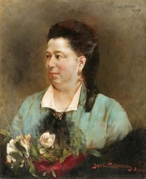 Дама з трояндами, к.о., 65х53