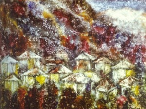 Mountain Neighbourhood of Yalta, 1988, paper, watercolour, 73x90