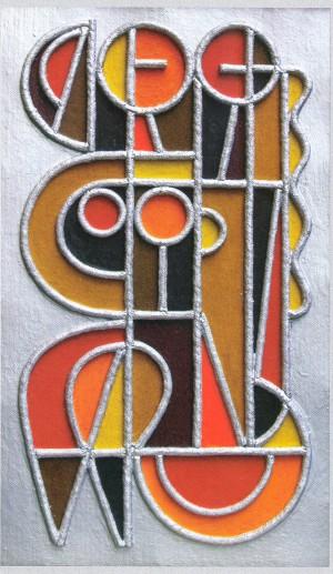 «Сестри» 1994, проект вітража, авторська техніка, 40х24