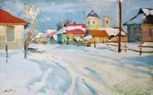 Street In Sedniv Village, 1968, oil on cardboard, 50x80