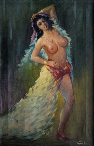 Nude Dancing Gypsy Woman, oil on canvas, 83x55