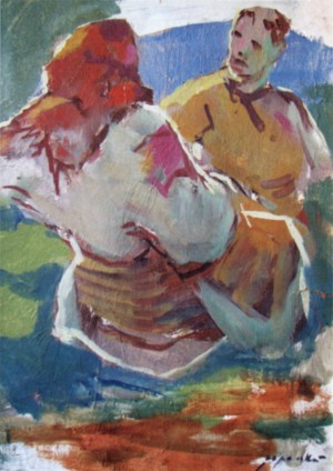 Couple from Verkhovyna, 1960, oil on cardboard, 41x30