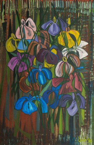 Still Life. Irises, 1996, oil on canvas, 120,5х80,5