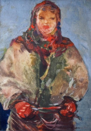 Girl of Verkhovyna, 1940, oil on cardboard, 40x30