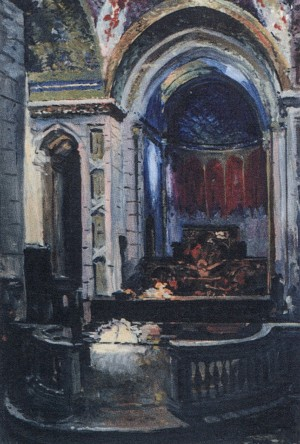 Interior Of The Armenian Church, 1957, oil on cardboard, 74x50