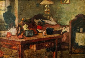 Interior Of The Artists Room, 1920, oil on cardboard, 32x47