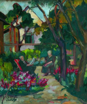 Artist`s parents in the garden