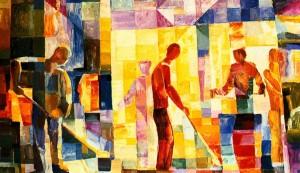 Glassblowers', 1976, oil on cardboard, 50x80