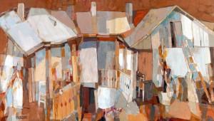 Sunny Courtyard, 2009, oil on canvas, 60x103