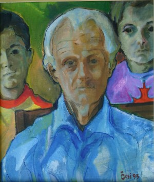 I. Nebesnyk With Grandchildren, from the photo archive of Y. Nebesnyk, 1993, oil on canvas, 65x55